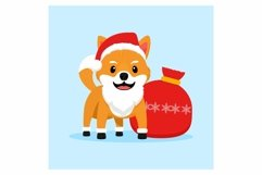 Shiba Inu as Santa Claus , Doggy Christmas in flat design Product Image 1