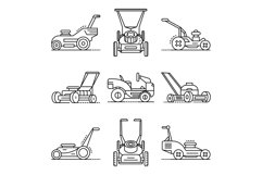 Lawnmower icon set, outline style Product Image 1