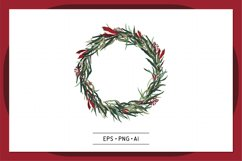 Christmas Wreath Hand drawn vector - 0008 Product Image 1