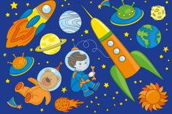 LITTLE SPACEMAN Vector Illustration Seamless Pattern Set Product Image 3