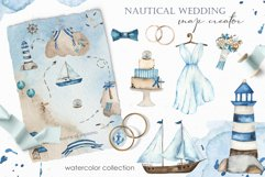 Nautical wedding map creator Watercolor clipart Product Image 1