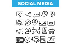 Collection Social Media Elements Icons Set Vector Product Image 1