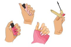 Cosmetics bundle clipart, make up and skincare eps, png. Product Image 3