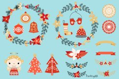 Red and gold Rustic Christmas clipart set with wreaths Product Image 2