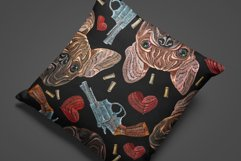 Embroidery style bulldog, hearts and guns Product Image 3