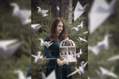 Creative surrealism design. Girl with origami paper cranes. Product Image 1
