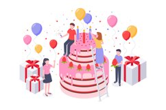 Isometric birthday cake. Party confetti, cakes present and b Product Image 1
