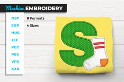S for Sock Applique Machine Embroidery Product Image 1