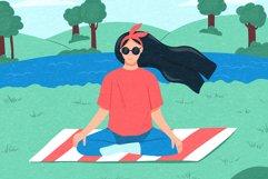 Woman meditates on shore of lake Product Image 2