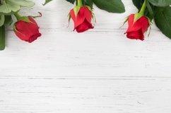 Valentines background, rose border flat lay Product Image 1