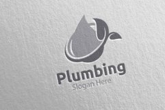 Eco Plumbing Logo with Water and Fix Home Concept 48 Product Image 2