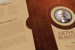 Leather Funeral Program Word Publisher Template 4 PAGES Product Image 2