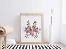 Watercolor leopard bunnys tail clipart. Easter wreath png Product Image 3
