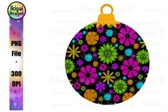 Hippie Christmas Sublimation Design, Flower Power Ornament Product Image 1