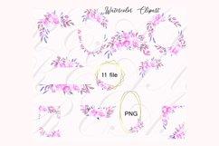 Purple Pink Violet Watercolor Flower Clipart Set Product Image 4