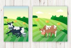 Cartoon cows cute vector set Product Image 2