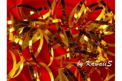 Festive red background Golden shiny ribbons birthday texture Product Image 1