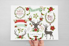 Farmhouse Christmas, Reindeer Silhouettes, Vector Clipart Product Image 2