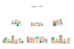 Winter Town. Watercolor Cards Product Image 6