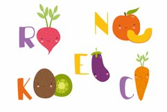 Kids alphabet. fruit and vegetable PNG. Baby vegetables. Product Image 4