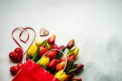 St. Valentine card concept with tulips, hearts and gift Product Image 1