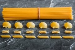Different types of pasta on a stone Product Image 3