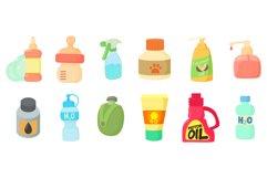 Plastic bottle icon set, cartoon style Product Image 1