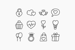 Valentine Doodle Icons - Colorful & Outline Product Image 2