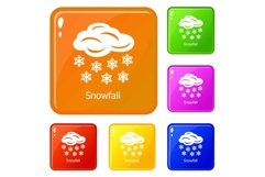 Snowfall icons set vector color Product Image 1
