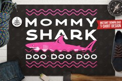 Retro Mommy Shark Print / Mothers Day T-Shirt, Family SVG Product Image 1