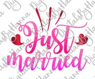 Just Married Wedding Sign Newlyweds Sublimation Print File Product Image 2