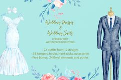 Watercolor wedding outfit on hangers and cloth hooks Product Image 9