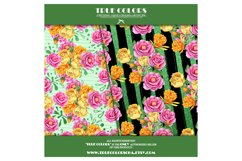 Yellow Red Rose Flower Story Digital Paper Pack Mint Black Product Image 2