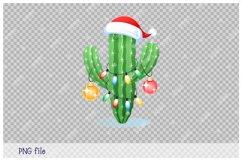 Merry Christmas. Greeting card with a cactus. Product Image 2