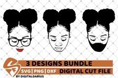 Messy Bun Designs Bundle svg, Afro Puffs svg, Black Woman Product Image 1