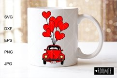 Valentines heart truck Svg, Retro red car, i love you SVG Product Image 2