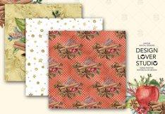 Watercolor Apple Cinnamon digital paper pack Product Image 6