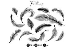 Black Feathers Stencil Boho Line Art Design Elements Product Image 1