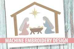 Nativity Sketch Embroidery Design Product Image 1