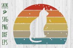 Vintage Sunset Cat SVG Product Image 1
