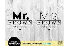 Wedding sign svg file, Mr and Mrs SVG, wedding shirt svg Product Image 2