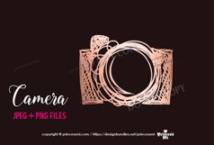 rose gold camera clipart elegant glitter camera Product Image 1