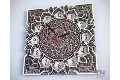 C04 - Mandala Flower Clock, Layered Clock DXF, Clock SVG Product Image 4