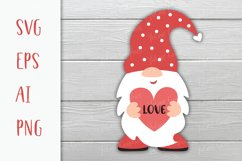 Gnome Valentine SVG with the heart in his hands. Love SVG. Product Image 1