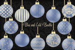Blue and Gold Christmas Bauble Product Image 1