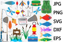 Fishing Designs - Clip art / Cutting Files 101c Product Image 1