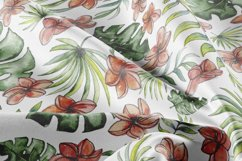 Watercolor tropical leaves & flowers seamless pattern. Product Image 4