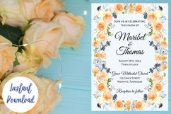 Peach and Dusk Blue Watercolor Wedding Invitation Product Image 1
