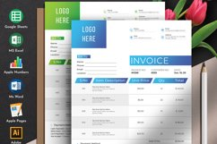 Modern Invoice Template Google Sheets Excel Numbers Format Product Image 1