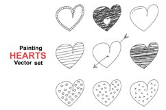 Set of hand drawn painting hearts. Product Image 1